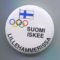 OLYMPIC OLYMPIADE - Finland Suomi Committee, Pin, Badge, Abzeichen, Brooch, D 60 Mm - Apparel, Souvenirs & Other