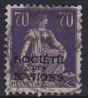 Switzerland / Schweiz / Suisse: 1922 Sitzende Helvetia 70 C Violet/gelb Mit Aufdruck S.d.N. Michel S.d.N D 21 X - Dienstzegels