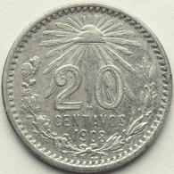 1908 MEXICO 20 CENT KM# 435 .800 Silver Radiant Liberty Cap - KEY DATE - Mexico