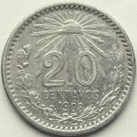 1908 MEXICO 20 CENT KM# 435 .800 Silver Radiant Liberty Cap - KEY DATE - Mexique
