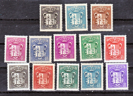 Andorre  47 à 60 Sauf 56 Armoiries Neuf * * TB MNH Sin Charnela Cote 17 - Unused Stamps