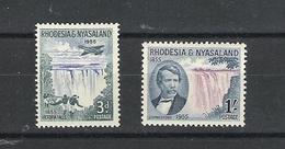RHODESIA & NYASALAND 15th JUNE 1955 CENT. OF DISCOVERY OF THE VICTORIA FALLS SG 16/17 LMM - Rhodesien & Nyasaland (1954-1963)