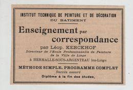Publicité 1922  Enseignement Par Correspondance Peinture Bâtiment Kerckhof Hermalle Argenteau Liège - Werbung