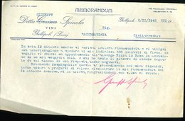 199 GALLIPOLI 1942, MEMORANDUM DITTA COSIMO ( SOST. CON GIUSEPPE) SPINOLA  VINI - Italia