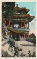 CPA   CHINE---PEKING---CHONESSE BOY AND PAGODA, SUMMER PALACE---TIMBRE AU VERSO ? - Cina
