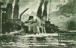 """CPA ALLEMAGNE--DER FRANZOS. PANEZRKREUZER"""" LEON GAMBETTA """" Wird Von Dem Osterr.ungar.-u5"""" UNDERSEEBOOT AM 27 APRIL 1915. - Allemagne"""
