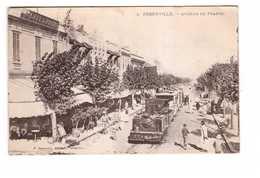 Train Locomotive à Vapeur Dans Rue Ferryville Avenue De France Tunisie Cachet Militaire Ferryville 1919 Chemin De Fer - Gares - Avec Trains