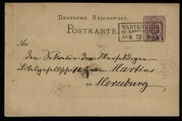 S5967 - DR Pfg GS Postkarte : Gebraucht Mit NV Preussen Stempel Wartenburg Ostpreussen - Merseburg 1879 , Bedarfserhal - Deutschland
