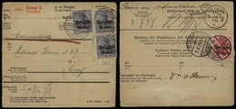 S6432 - DR Belgien MeF Auf R - Paketkarte Mit 10 Cent Bestellgeld: Gebraucht Brüssel - Ciney 1918 , Bedarfserhaltung. - Occupazione 1914 – 18