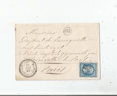 LETTRE AVEC TIMBRE 20 C BLEU NAPOLEON III  (EMPIRE FRANC) GROS CHIFFRES CASTERA VERDUZAN (GERS) 765  ORIGINE RURALE 1863 - 1849-1876: Période Classique