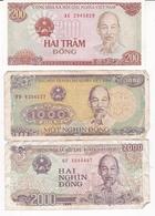3 BILLETS  / VIET NAM / 200  NEUF / 1000 ET 2000 DONG / - Viêt-Nam