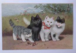 Katzen, Spaziergang,      1924, Sig. Sperlich ♥  - Tierwelt & Fauna