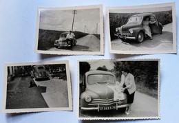 4 Photo Originale Renault 4CV Voitures Automobile 8186BR78 En Normandie - Coches