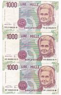 3 BILLETS 1000 LIRE ITALIE / TBE - [ 2] 1946-… : République