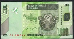 CONGO D.R. P101a 1000  FRANCS 2005   Q/A.    UNC. - Congo
