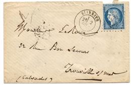 Lettre De Biarritz Cachet à Date +  25c IIIème République GC 473 (année 1874 Cf Verso) - 1849-1876: Klassik