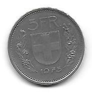 (Monnaies). Suisse Swizerland Helvetia 5 Fr 1975 - Suisse