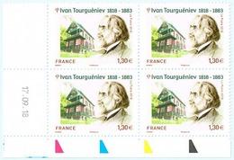 France 2019 Coin Daté X4TP Ivan Tourguéniev - Tourguénieff Tourguéneff Ecrivain Russe -1818-1883 - MNH Neuf Ou Oblitéré - Coins Datés
