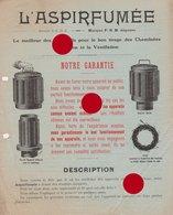 PELLETIER MONIER Rue Le Peletier  PARIS (9) Publicité Pour ASPIRFUMEE Vers 1930 - Publicités