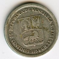 Venezuela 50 Centimos 1954 Argent KM 36 - Venezuela