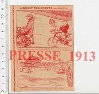 Presse 1913 Humour Vélo Stager ( Derny ) Cyclisme Aviation Aéroplane Décollage Aviateur Avion Ancien 223XJ - Vieux Papiers
