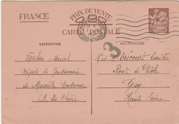 Entier Iris Interzone 1941 / Censure / De Marseille Gare Pour Trécourt à Gray 70 - Ganzsachen