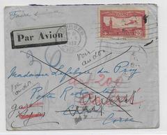 1932 - ENVELOPPE Par AVION De BOURGES (CHER) =>CALVI POSTE RESTANTE (CORSE) READRESSEE GARE LYON PERRACHE  PLM -VOIR DOS - 1921-1960: Période Moderne