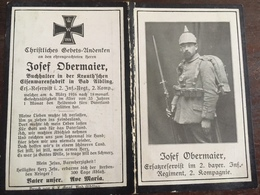 Sterbebild Wk1 Ww1 Bidprentje Avis Décès Deathcard IR2 BILLY MONTIHNY Block 6 Grab 224 Aus Bad Aibling - 1914-18