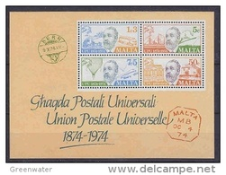 Malta 1974 UPU M/s ** Mnh (41617A) - Malta