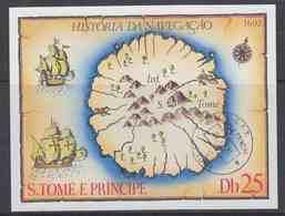 Sao Tome E Principe 1979 Old Map M/s Used Cto (41617D) - Sao Tome En Principe