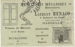 Rare Carte-lettre Commerciale Illustrée 1907 /Laurent RENACO / Menuiserie /Travaux De Marine / Devantures / 13 Marseille - Cartes