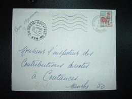 LETTRE TP COQ DE DECARIS 0,30 OBL.MEC.11-3 1967 50 GOUVILLE SUR MER MANCHE + Manuscrit: Bien 19 Grammes OBL. MANUELLE - 1962-65 Cock Of Decaris