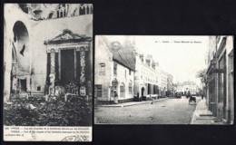LOT 2 CPA ANCIENNES BELGIQUE- YPRES- VIEUX MARCHÉ AU BEURRE + EGLISE EN RUINE- ARMÉE FRANCAISE EN BELGIQUE- 2 SCANS - Belgique