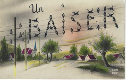 CPA FANTAISIE - UN BAISER ( MOT FORME PAR ALIGNEMENT D'HIRONDELLES ) Sur Ligne Electrique - OISEAU - Other
