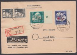"""Mi-Nr. 291/2, """"Weltfestspiele"""", Randstücke Mit Zusatzfr. Auf Portoger. R-Brief """"Plauen"""" - DDR"""