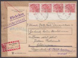 Mi-Nr. 582 B, Senkr. Rand-4er Streifen Auf R-Päckchen Mit Überwachungsstempel - DDR