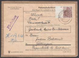"""Mi-Nr. 585 B, EF Auf """"Päckchen""""-Adresse, Randstück - DDR"""