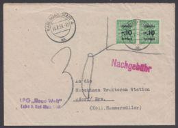 """Bedarfsbrief Mit MeF Von 2 Gebührenmarken """"Karl-Marx-Stadt"""", 13.7.59, Nachgebühr - DDR"""