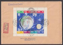 """Mi-Nr. 926/33, """"Kosmos""""- Kleinbogen, Rechts Nicht Durchgezähnt Auf R-Brief - DDR"""