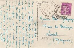 CARTE.  CACHET  HEXAGONAL PERLÉ. POSTE AUTOMOBILE RURALE. MAYENNE LAVAL ANNEXE C.P. N° 6 - 1921-1960: Modern Period