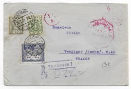 POLOGNE - 1920 - LETTRE RECOMMANDEE De VARSOVIE Avec CENSURE => VERGIGNY (YONNE) - - 1919-1939 Republik