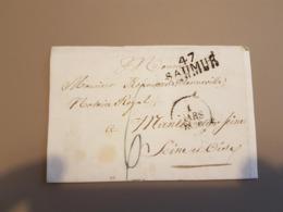 MARQUE POSTALE DE SAUMUR A MANTES DU 01 MARS 1828 - 1801-1848: Précurseurs XIX
