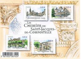 Frankreich Block 243 - Jakobsweg, Chemin St. Jaques, Pilgrimage, Kloster, Kirchen, Monastry, Churches - Blocs & Feuillets