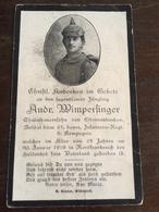 Sterbebild Wk1 Ww1 Bidprentje Avis Décès Deathcard IR24 30. Januar 1916 Aus Oberneukirchen - 1914-18