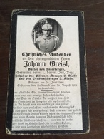 Sterbebild Wk1 Ww1 Bidprentje Avis Décès Deathcard IR1 CHAMPS PRAAST 30. August 1918 Aus Unterbergen - 1914-18