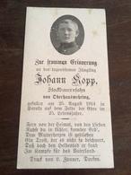 Sterbebild Wk1 Ww1 Bidprentje Avis Décès Deathcard DEUXVILLE GERBÉVILLER Aus Oberhausmehring 25. August 1914 - 1914-18