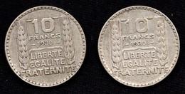 Lot De 2 Pièces En Argent De 10 Francs TURIN 1930 - Total De 19.98 Grammes - France
