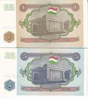 2 BILLETS TADJIKISTAN 1 ET 5 ROUBLE 1994 - Tadschikistan