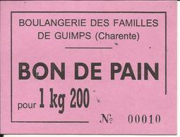 LOT De 4 BONS De PAIN , Boulangerie Des Familles De GUIMPS ( Charente , 16 ) , Voir Scans - Bons & Nécessité