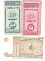3 BILLETS MONGOLIE 10/ 50 ET 1/ NEUF - Mongolie